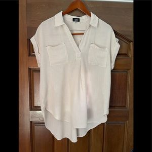 Jones NY Cream colored brown striped blouse